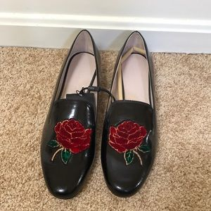 NWT! ZARA size 39/8 black Rose flats/loafers